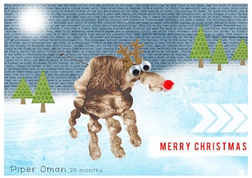 Hybrid crafty christmas card rudolph the reindeer for Reindeer christmas card craft