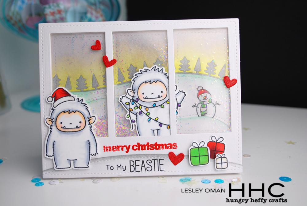 Yeti Christmas Shaker card-front