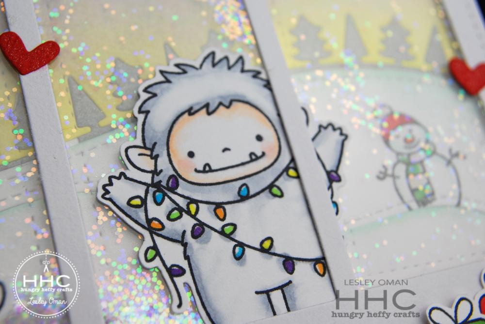 Yeti Christmas Shaker card-yeti lights
